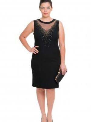 Tül Yaka Siyah Elbise