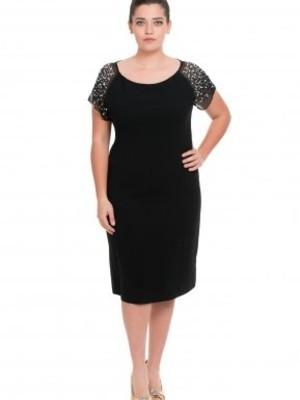 Siyah OmuzlarıTaşlı Elbise